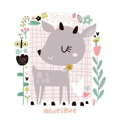 Cute cartoon deer in floral frame in scandinavian style. Childish print for nursery, kids apparel,poster, postcard. Vector Illustration