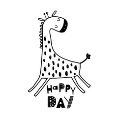 Cute hand drawn giraffe in black and white style. Cartoon vector illustration in scandinavian style