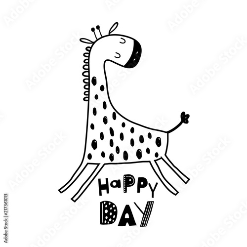 Cute Hand Drawn Giraffe In Black And White Style Cartoon Vector