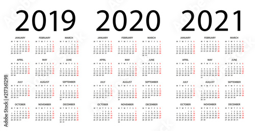 Calendario 2020 Vector Gratis.Calendar 2019 2020 2021 Illustration Week Starts On