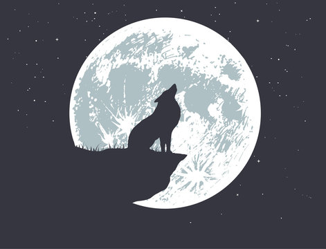 wolf howling to full moon on the precipice .Vector illustration