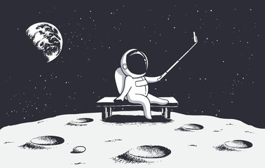 astronaut photographs himself on Moon.Space theme.Vector illustration