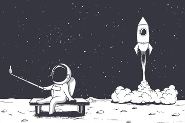 astronaut photographs himself on Moon against the background of a rocket .Space theme.Vector illustration