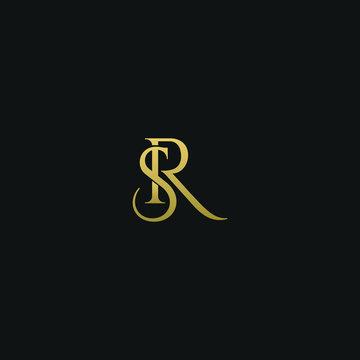 Unique modern elegant SR black and gold color initial based letter icon logo
