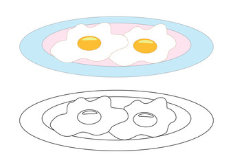 Fried eggs on a plate, coloring page. Vector illustration.