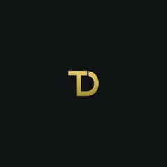 Unique modern elegant TD black and gold color initial based letter icon logo