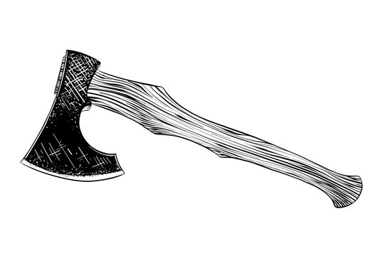 Vector engraved style illustration for posters, decoration and print. Hand drawn sketch of axe in black isolated on white background. Detailed vintage etching style drawing.