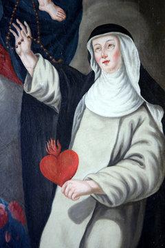 Sainte-Catherine de Sienne tenant un coeur lors de l'Assomption de la Vierge-Marie. Autel du Rosaire. Eglise Notre-Dame de l'Assomption. Cordon. St. Catherine of Siena.