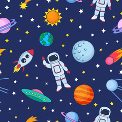 Cute seamless colorful pattern with space cosmonaut stars planets earth ufo rockets spaceships satellite sun comet on dark blue background. Vector illustration for kids, wrapping paper, textile etc