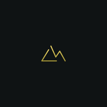 Modern creative elegant LM black and gold color initial based letter icon logo