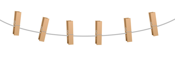 Six clothes pins on a clothes line rope - wooden pegs holding nothing.