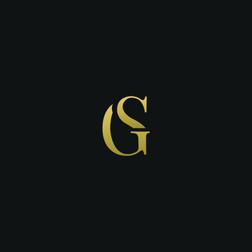Modern creative elegant GS or SG black and gold color initial based letter icon logo