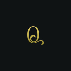 Modern creative elegant Q black and gold color initial based letter icon logo