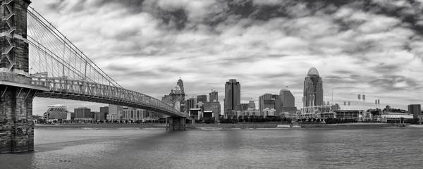 Cincinnati skyline and Ohio River in black and white