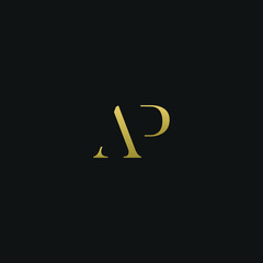 Modern creative elegant AP black and gold color initial based letter icon logo