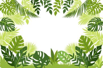 frame of tropical leaves. vector cartoon illustration. jungle banner