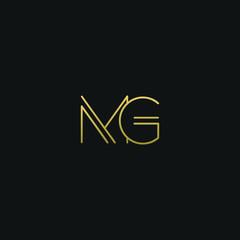 Fototapeta Creative modern elegant MG black and gold color initial based letter icon logo. obraz