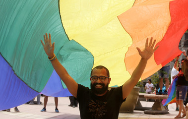 LGBT community members and activists demostrate to demand for same-sex marriage in San Jose