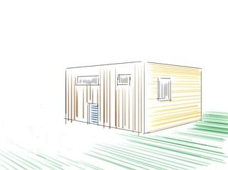 Haus Architektur Skizzen In Buntstift
