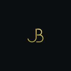 Unique modern trendy JB black and gold color initial based icon logo.