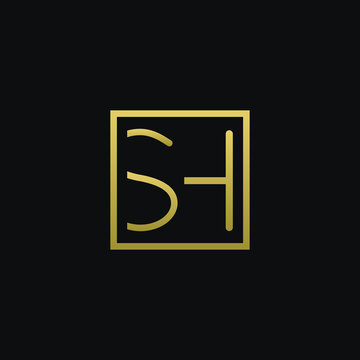Unique modern trendy SH black and golden color initial based icon logo.