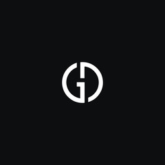Unique modern trendy GD black and white color initial based icon logo.