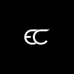 Unique modern trendy EC black and white color initial based icon logo.
