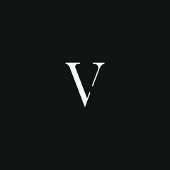 Creative unique modern LV or VL black and white color initial based icon logo.