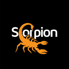 Scorpion text logotype icon vector