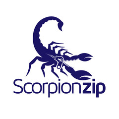 Scorpion with zipper logo icon vector