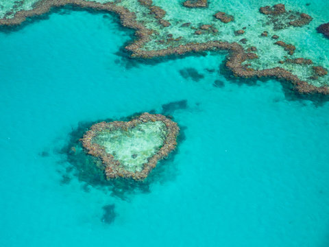 Heart Reef in the Great Barrier Reef, viewed from a Seaplane