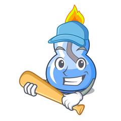 Playing baseball alcohol burner character cartoon
