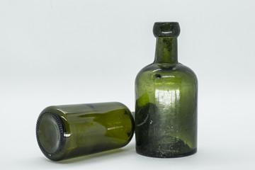 Green vintage wine bottles