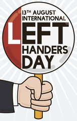 Commemorative Sign to Celebrate Left Handers Day, Vector Illustration