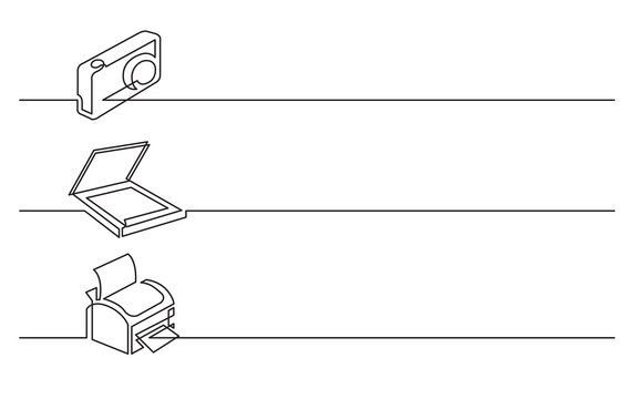 banner design - continuous line drawing of business icons: photo camera, scanner, printer