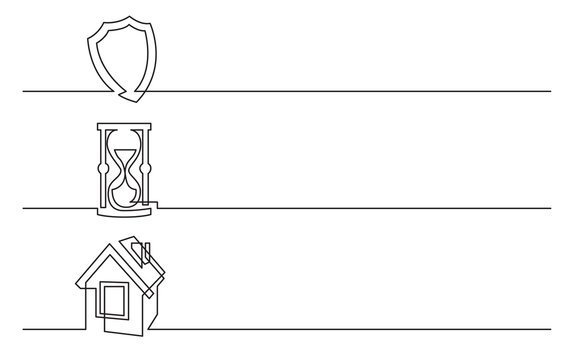 banner design - continuous line drawing of business icons: protection shield, hourglass, home symbol