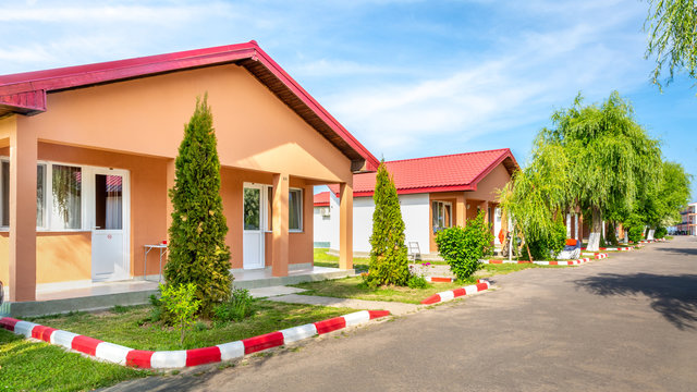 Row of units in an affordable motel and camping on a romanian Black Sea resort