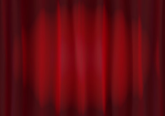 Background image of red velvet stage curtain with spot lighting. Abstract red vertical lines and strips.