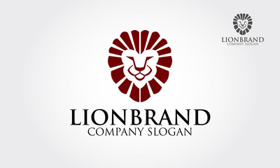 Lion face logo emblem template for business. This logo design for all creative business. Vector logo illustration.