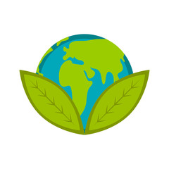 Earth planet with two leaves icon