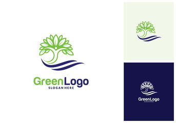 People Tree Logo and Icon Template, Green logo vector