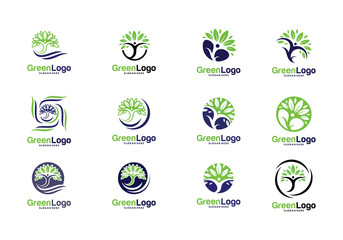 Set of People Tree Logo and Icon Template, Green logo vector