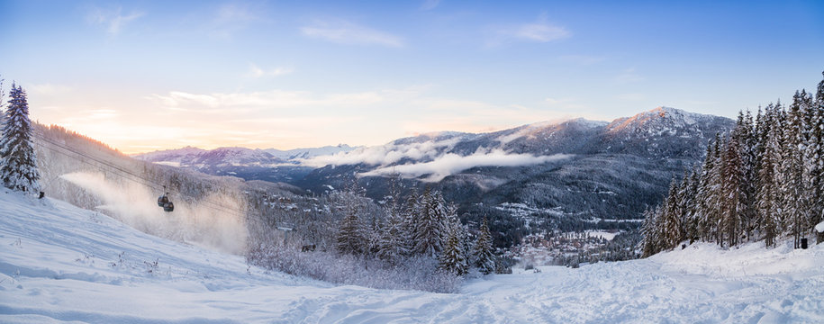 A sunset panorama of the Creekside at Whistler, BC.