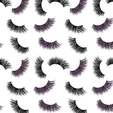Lashes vector pattern with purple glitter effect