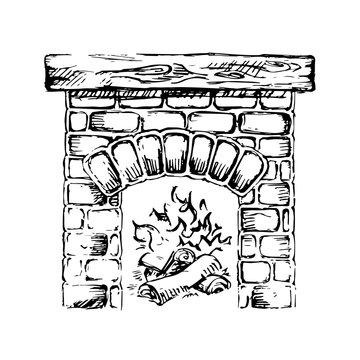 Brick fireplace and wood burning. Vector illustration