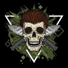 Human skull with two crossed machetes and marijuana leaves.