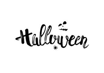 Happy Halloween creative hand lettering composition. Vector illustration.