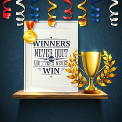 Winners Quotes Reslistic Illustration
