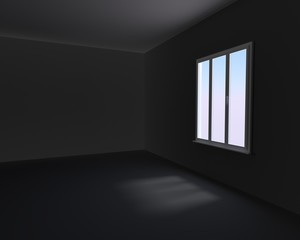 Window in dark room