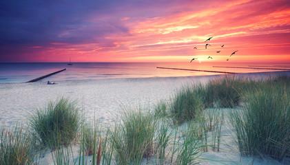 Ostseeküste mit Dünen und Buhnen